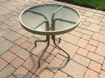 Patio glass top side table in Chicago, Illinois
