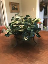 Classic Arrangement in Glass Bowl w Bronze Cast Iron Stand in Spring, Texas