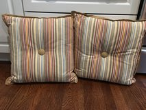 """Pair of Striped Cotton Pillows (16"""" square) with Center Button in Bolingbrook, Illinois"""