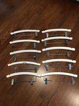 Set of 10 White Wooden Pants Hangers for Kids (4 Sets to Sell) in Chicago, Illinois
