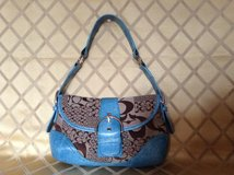 Coach look Shoulder purse blue and gray in canvas and corc embossed leather trim in Yucca Valley, California