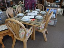 Rattan/glass Dining Table & 6 Chairs in Cherry Point, North Carolina