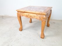 Carved Wood Stonetop Clawfoot End Table in Pearland, Texas