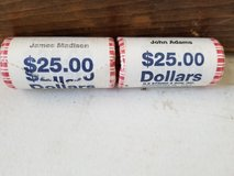 James Madison and John Adams $25 rolls mint in packages in Alamogordo, New Mexico