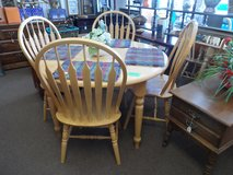 Solid Oak Table with 4 chairs in Cherry Point, North Carolina