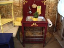 Upcycled handmade burgundy yellow potting garden bench w/ accessories in Morris, Illinois