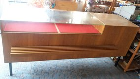 Large wood counter with glass top / front-plenty of storage space! in Spangdahlem, Germany