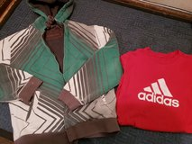 Teen boy sherpa lined hoodie, ADIDAS shirt play condition in Chicago, Illinois