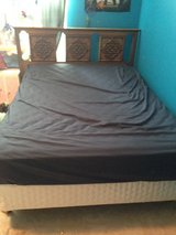 Full size bed: mattress, box spring, frame & wood headboard in Chicago, Illinois