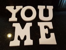 Me You Painted Wooden Letters with brackets in Yorkville, Illinois
