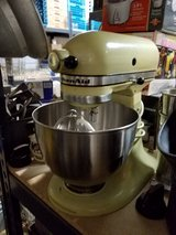 Vintage Almond KitchenAid K45 mixer with bowl & 3 attachments in Chicago, Illinois