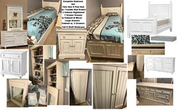 White Bedroom Set Twin 4 Poster Bed w/ Trundle Nightstand Dresser Armoire & Bookshelf in Kingwood, Texas