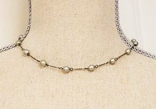 "Gray Antiqued Silver Tone 16"" Strand Necklace Pendant Choker Statement Chain in Houston, Texas"