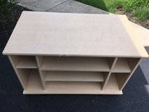 TV stand storage unit blonde/light color wood in Bolingbrook, Illinois