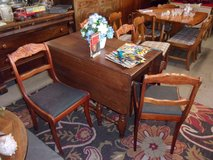 Hard Wood Drop Leaf Table With Four Rose Back Chairs in Fort Riley, Kansas
