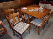 Knot Maple Drop Leaf Table With Six Matching Chairs Set in Fort Riley, Kansas