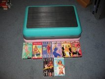 Jane Fonda Aerobic Workout Stepper Step Adjustable Risers Fitness Quest w/VHS tapes in Elgin, Illinois
