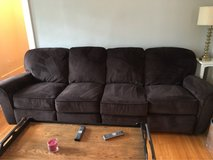 microfiber couch with end recliners and matching love seat in Naperville, Illinois