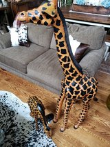 Pair of Leather Giraffes Exotic Animal Tribal African Safari Decor in Plainfield, Illinois
