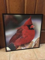 Framed puzzle of a male cardinal in Glendale Heights, Illinois