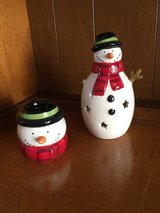 Snowmen tea light candle decorations in St. Charles, Illinois