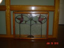 """Antique stained glass window in pine frame 27""""h X 34""""w in Kingwood, Texas"""