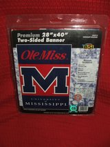 """Ole Miss University of Mississippi Two Sided Banner Flag 28"""" x 40"""" NCAA Licensed NEW in Oswego, Illinois"""