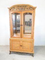 Beautiful Wicker & Metal Accent China Cabinet in Pasadena, Texas