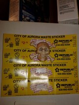City of aurora waste stickers 4 of them in Yorkville, Illinois