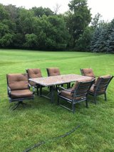 SLATE STONE MOSAIC PATIO TABLE AND WEBER GENSIS GRILL 6 CUSHION ARM CHAIRS  2 SWIVEL... in Oswego, Illinois