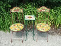 Ceramic Mosaic Patio Chairs & Accent Table / Grapes Wrought Iron in Bolingbrook, Illinois