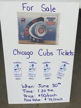 Cub's tickets, June 30th, section 409, row 2 seats 101-104 in Joliet, Illinois