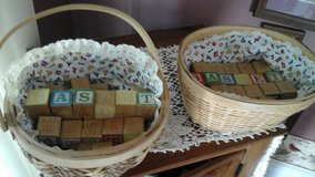 Vintage Wooden Alphabet Blocks In Handmade Baskets-Made/Assembled By Crafter in St. Charles, Illinois