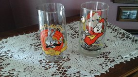 Vintage Drinking Glasses. Bugs Bunny & Alvin from the Chipmunks  Cartoon  Characters in Chicago, Illinois
