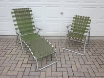 Aluminum Folding Chair & Chaise Lounge Set of 2 Olive Green 1960s 1970 in Aurora, Illinois