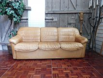 Honey Beige Leather 3 Seater Couch in Ramstein, Germany