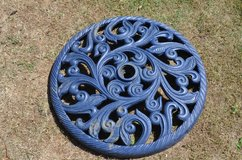 Heavy cast iron parasol base 60cm (2foot) diameter weighs about 25 kg in Lakenheath, UK