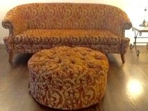 Red and Gold Couch with Ottoman in Bolingbrook, Illinois