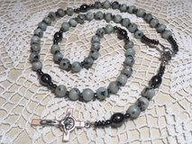 Rosary NEW Kiwi Agate Beads Great Color Hematite Pater Beads Italian SIlver Medal and Crucifix in Kingwood, Texas