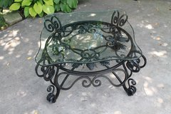 Leaded Glass & Wrought Iron Table -- Coffee Table or Outside in Naperville, Illinois