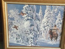 Oil Painting, Snowy Forest Winter Scene w/ Indian on Horseback in Travis AFB, California