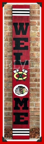 CHICAGO BLACKHAWKS HAND PAINTED WELCOME SIGN in Joliet, Illinois