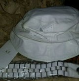 AX Womens White real Leather Hat and Belt in 29 Palms, California