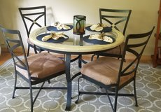 Iron glass top dining set + 4 chairs in Elgin, Illinois