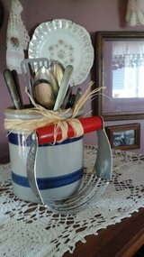 Pottery Crock With Antique  /Vintage Kitchen Utensils-Assembled by Crafter in Joliet, Illinois
