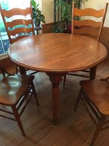 Solid Oak Dining Room Table & Chairs in Glendale Heights, Illinois