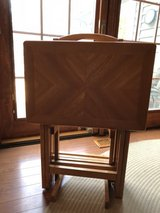 Oak TV trays (4) with stand in Joliet, Illinois