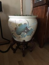 Porcelain Hand Painted Fish Bowl w/stand in Joliet, Illinois