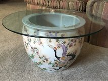 Porcelain Hand Painted Fish Bowl w/glass top in Oswego, Illinois
