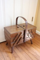 Vintage Accordian standing wood sewing box in Quantico, Virginia